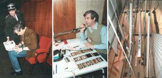Achter de schermen bij het Eurovisie Songfestival 1984 in Luxemburg. Met decorontwerper Roland de Groot (midden) en de door Snoeij & Snoeij gemechaniseerde track waar de hangstukken aan hangen (rechts). Collectie Roland de Groot