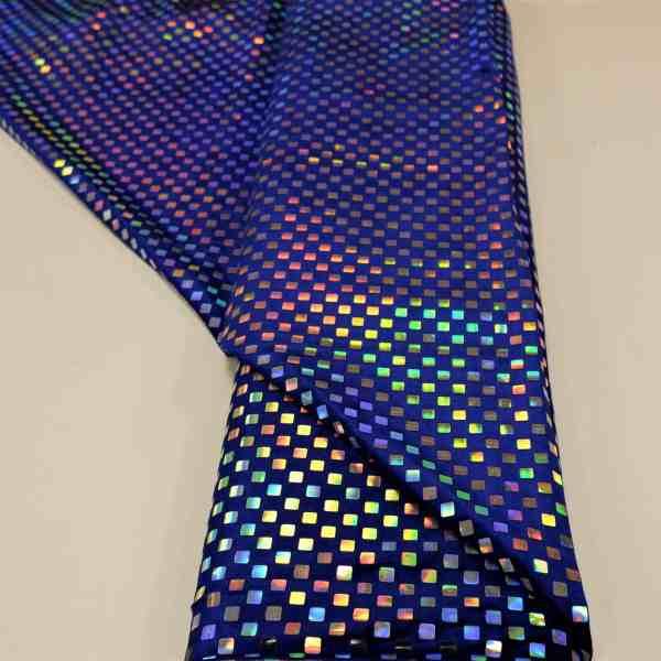 57.03403.014 Velours geplakte Hologram Pailletten Vierkant kobalt