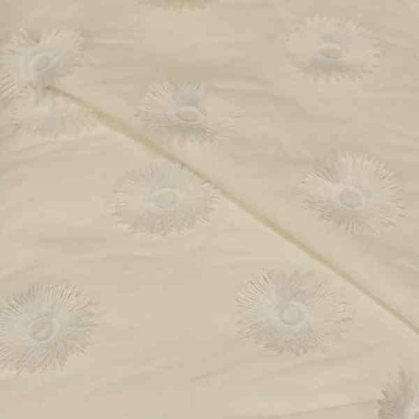 57.07718.001 Katoen Borduur Zonnebloemen wit