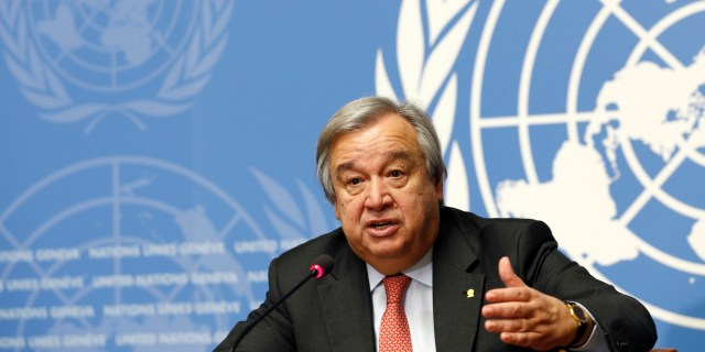Guterres UN High Commissioner for Refugees addresses a news conference in Geneva