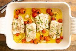 Lombos de pescada no forno