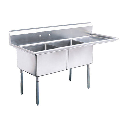 kitchen sinks with drain boards cabinet hardware cheap efi si824 2r 24 x 14 corner two compartment sink 24x24x14 right board