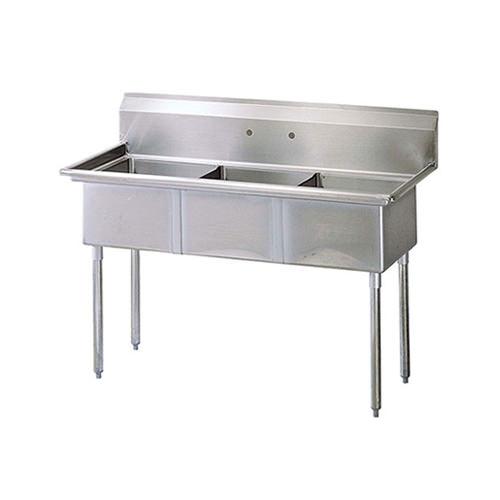 thorinox tts 1818 0 18 x 18 x 11 corner drain three compartment sink with no drain board