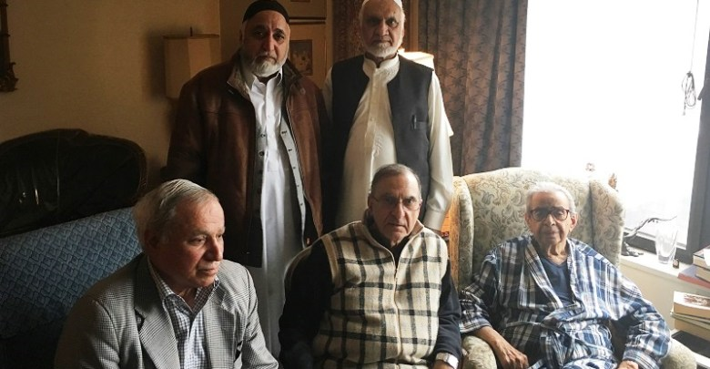 Sitting from right: Ambassador Buch, Dr. Fai, Sardar Sawar Khan. Standing from right: Haji Mian Maqsood and Haji Akram Amin.