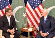 Prime Minister Shahid Khaqan Abbasi meets US Vice President Michael Richard Pence on the sidelines of 72nd session of UN General Assembly.
