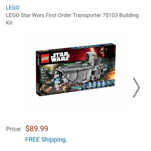 Image of the new Lego Star Wars First Order troop transporter for sale at Amazon for $89.99