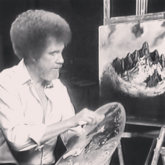 """""""See you don't have to be crazy to do this, but it sincerely helps!"""" Bob Ross on painting This dude is killing it #bobross #art #painting"""