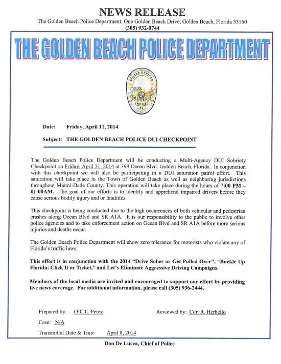 GOLDEN BEACH PRESS RELEASE