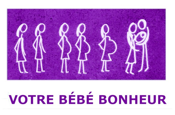 femme au trait blanc  sur fond violet. le ventre grossit progressivement et forme un coeur. le couple berce leur bébé bonheur