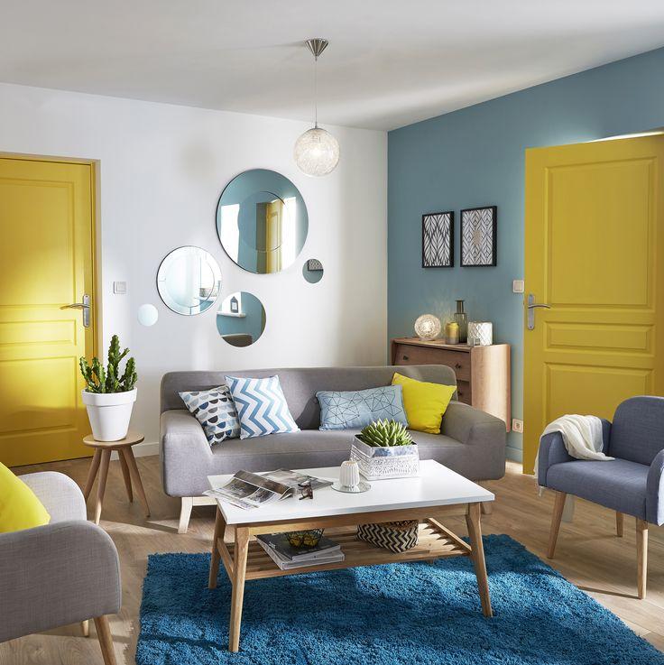 Dco salon bleu et jaune  Exemples damnagements