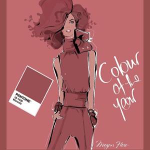 Illustration de Megan Hess : femme habillée dans la couleur Pantone Marsala