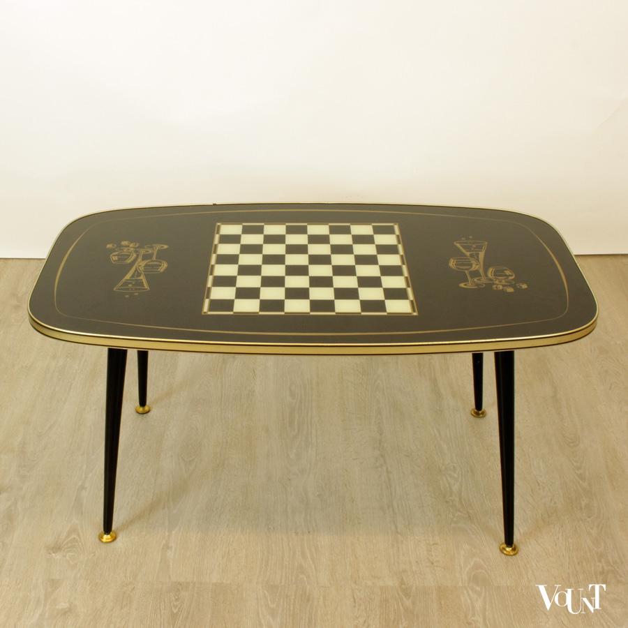 Jaren 50 salontafel met schaakbord