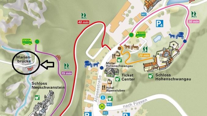 Caminhos para chegar à ponte que dá a melhor visão para o Castelo da Cinderela na Alemanha