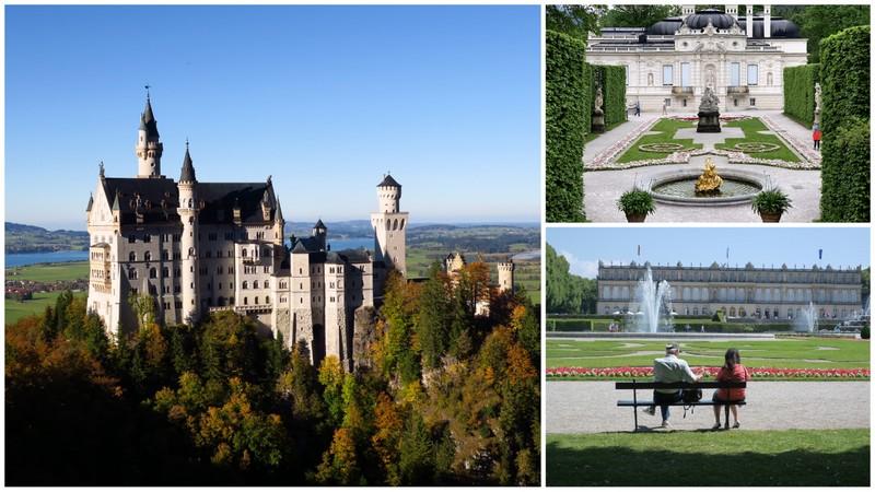 Fachadas de três castelos da Alemanha: Castelo Neuschwanstein, Palácio Linderhof e Palácio Herrenchiemsee