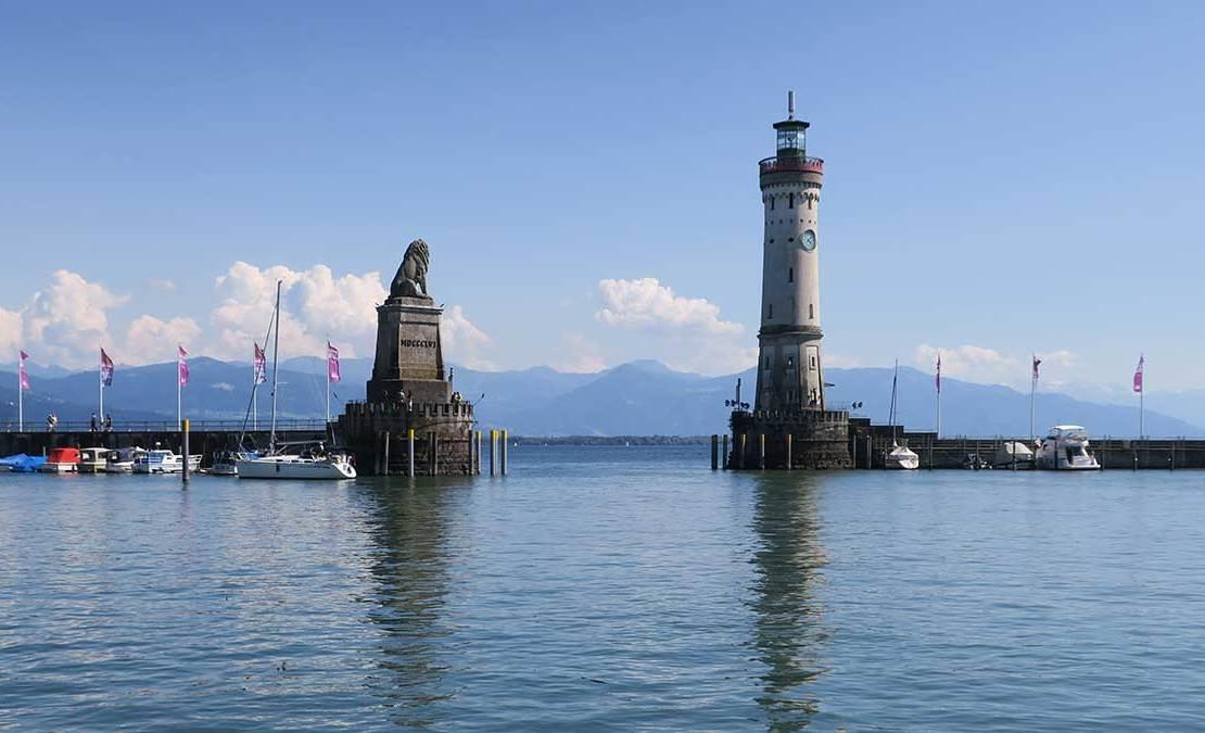 Porto de Lindau, no Lago Constança, na Alemanha