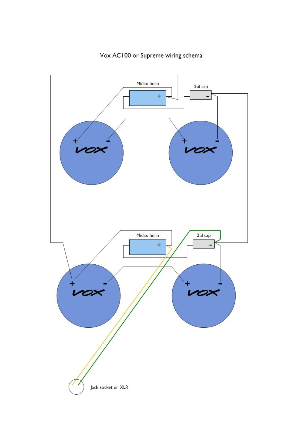 medium resolution of wiring schema for a 1965 ac100 speaker cabinet the wiring schematic