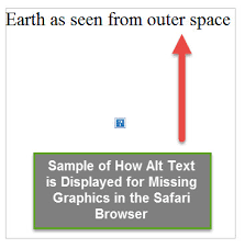 Example of alt text being displayed for SEO