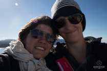 2 baroudeuses pendant la traversée des Marlborough Sounds - ferry de Welllington à Picton