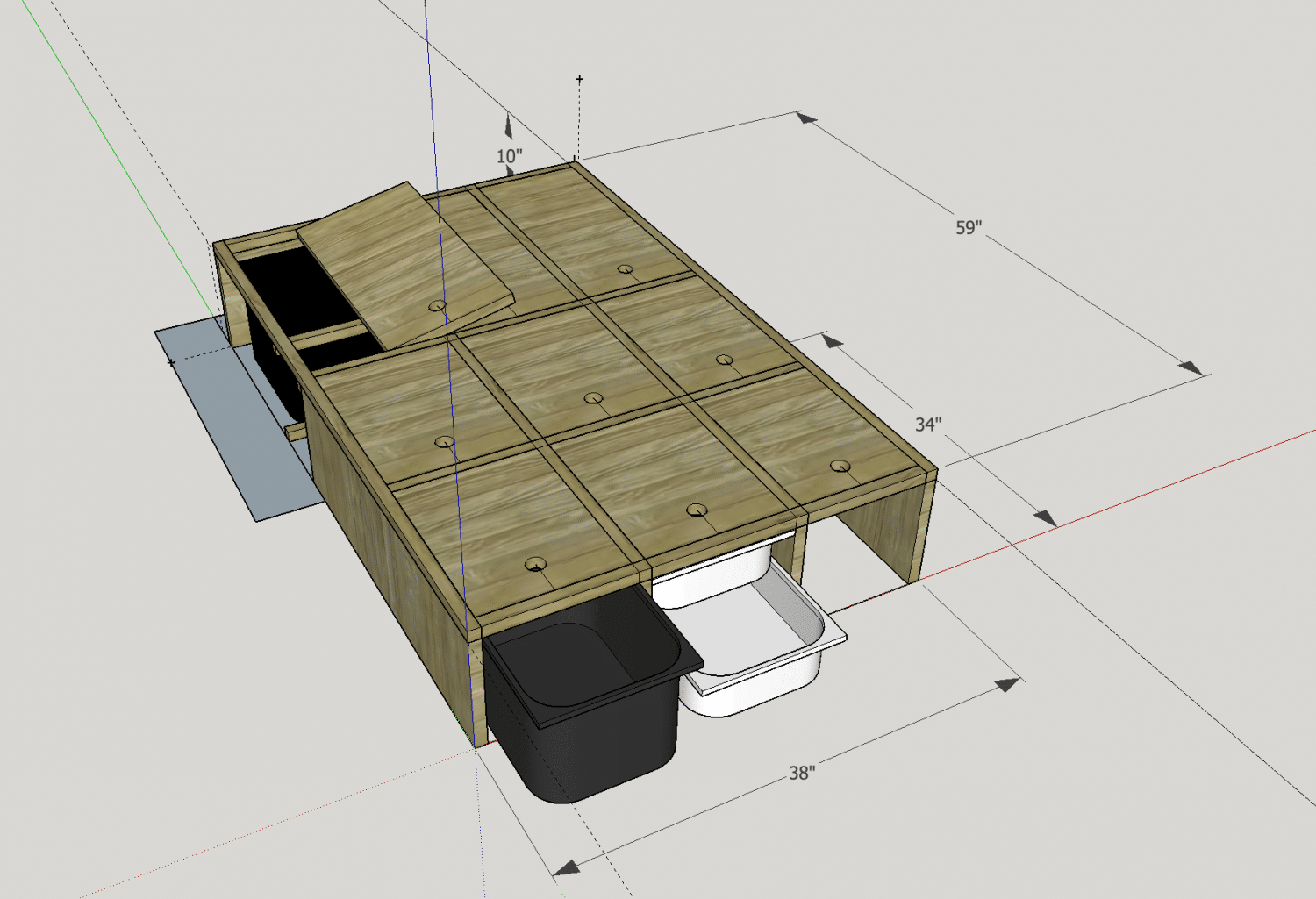 sketchup amenagement van 4x4 - rangements