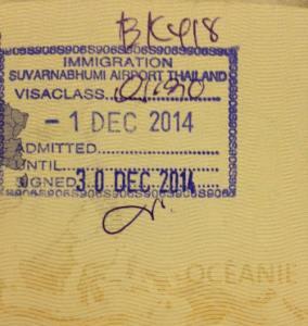 Arrivée en Thaïlande - stamp