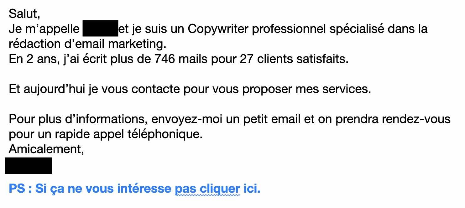 Mauvais email de prospection