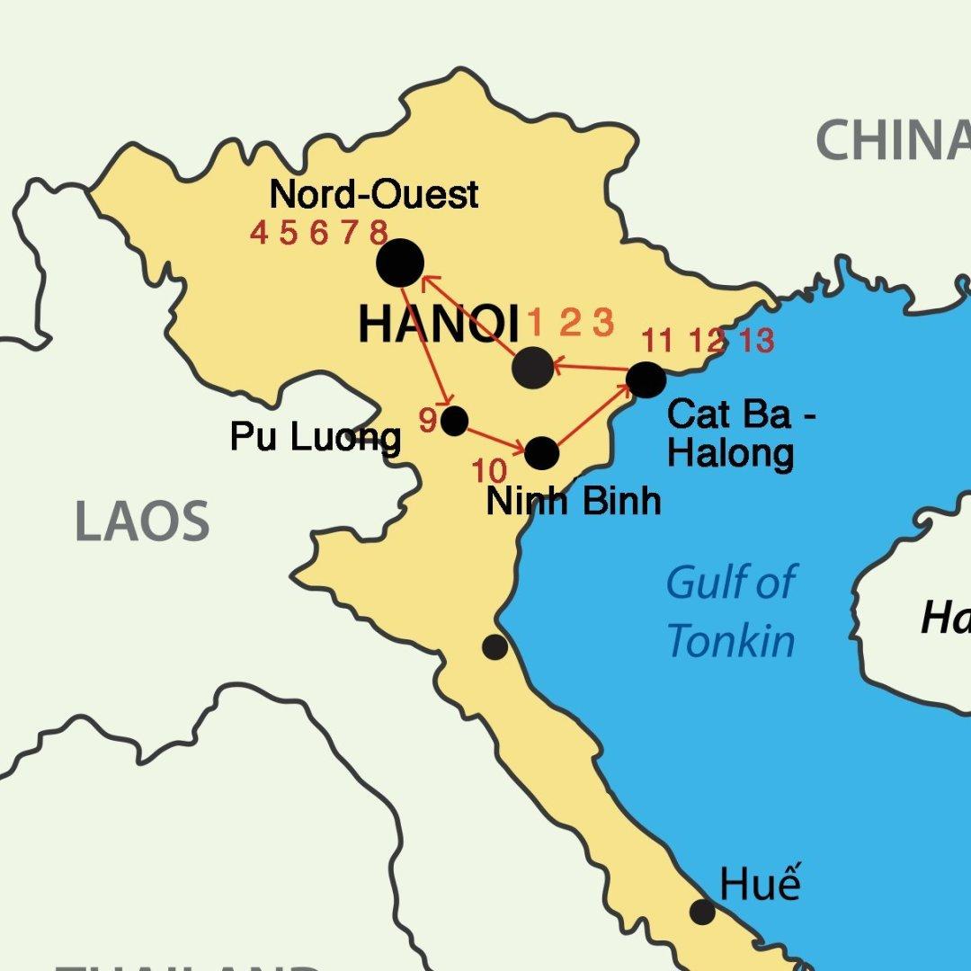 Carte Circuit Vietnam - Jungles et écolodges du Nord-Vietnam