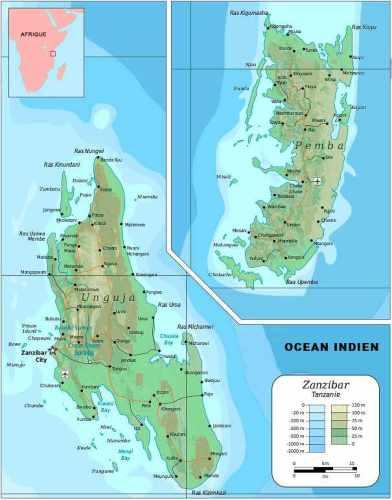 Cartes - Voyage Zanzibar sans vol pas chers. Pemba island