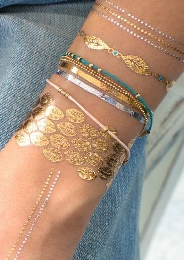 Tatouage ephemere bijou peau jewelry tattoo romantique dore voyage en beaut - Tatouage ephemere dore ...