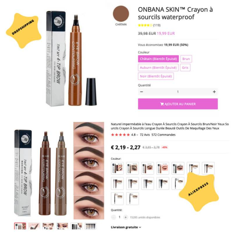 arnaque dropshipping maquillage crayon sourcil