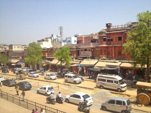 Street view from the Hawa Mahal Palace Jaipur
