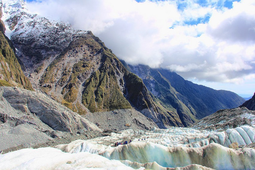 Looking down toward valley, Franz Josef Glacier, South Island, New Zealand - Taken by Diann Corbett, 09/2014.