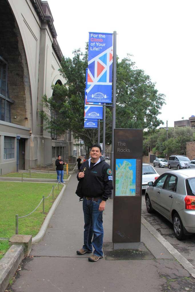 Tim at the Bridge Climb Sydney Office, Ready to Go, Australia - Taken by Diann, 09/2014.