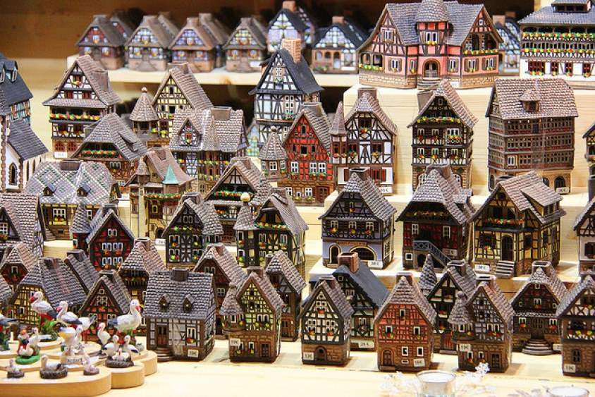 Holiday village house sets for sale in Strasbourg, France, taken 12/2014 by Diann Corbett.