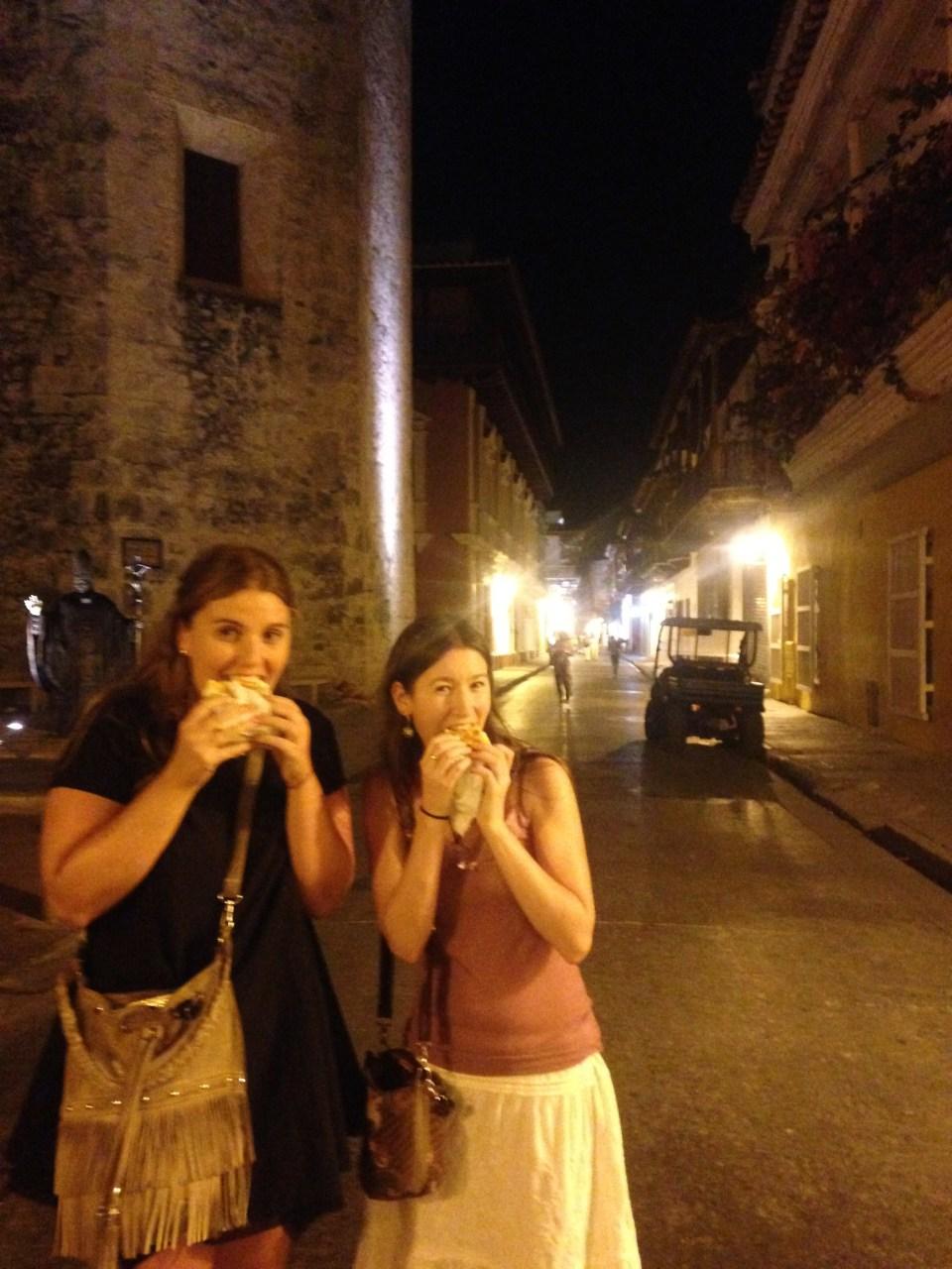 Eating Arepa