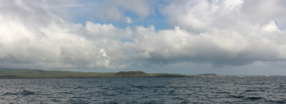 Arriving in Galapagos. The terrain is very lush and green as it's the wet season at the moment. You can see San Cristobal on the right