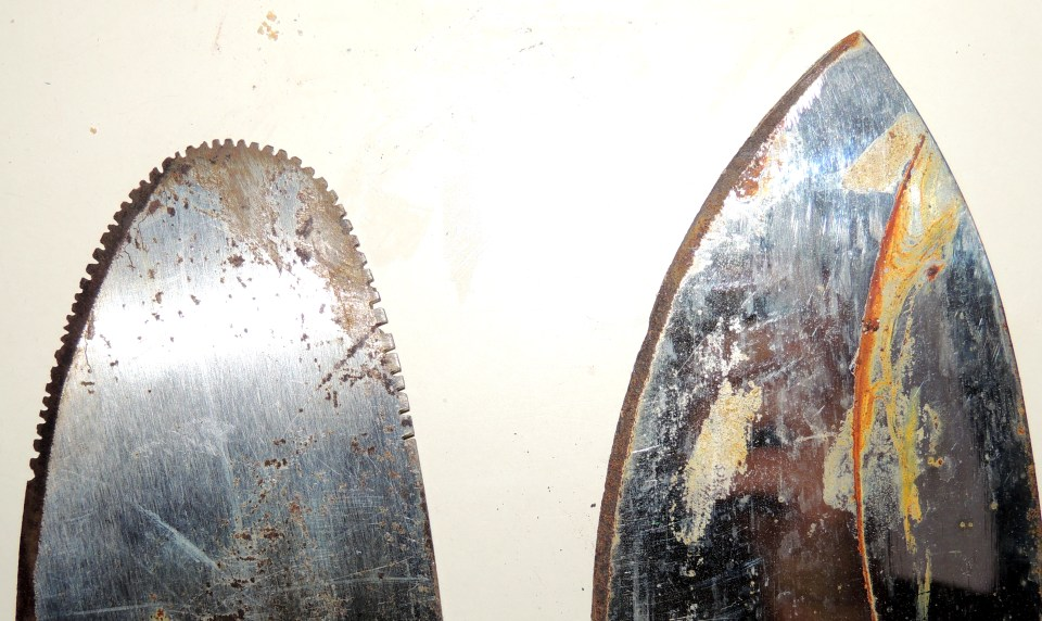 You can see the original machete on the right, and the one we converted into a coconut grater on the left