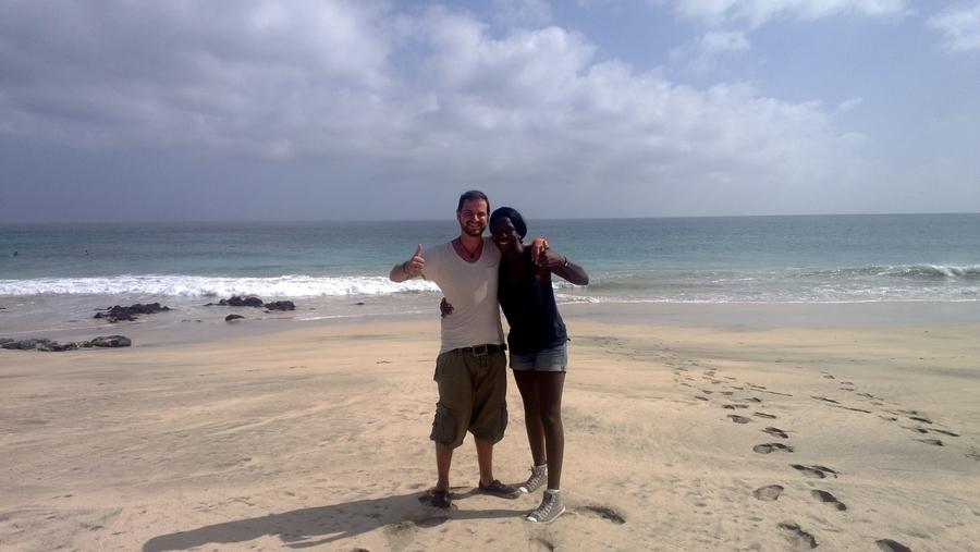 Nath et Séb à la plage de Topim - São Vicente, Cap-Vert