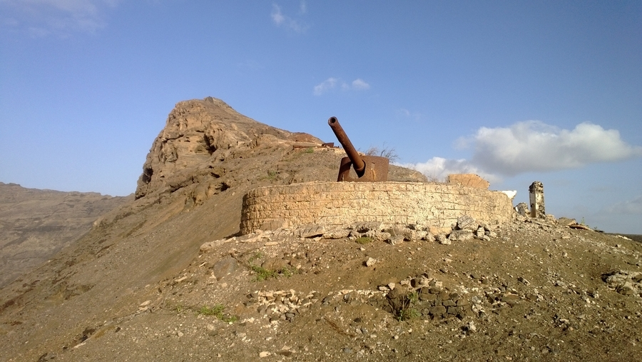 Portuguese artillery on the heights of Mindelo - São Vicente, Cape Verde