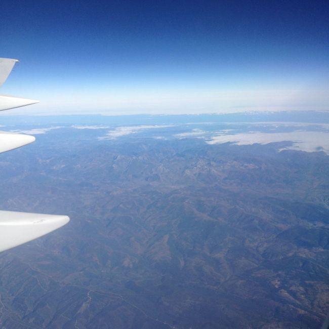 Vue depuis l'avion en arrivant au Cap-Vert