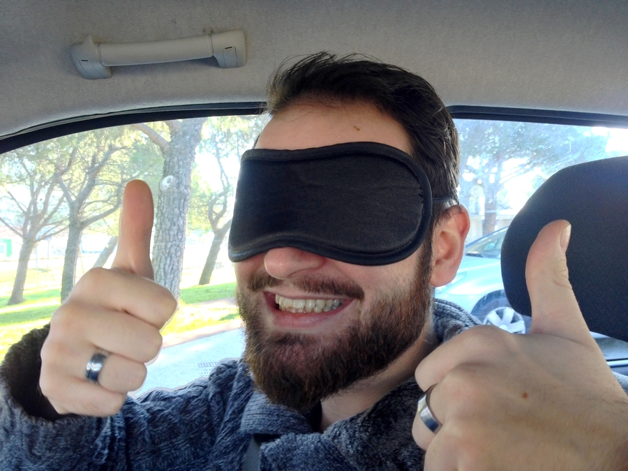 Blindfolded Séb while going to his suprise!