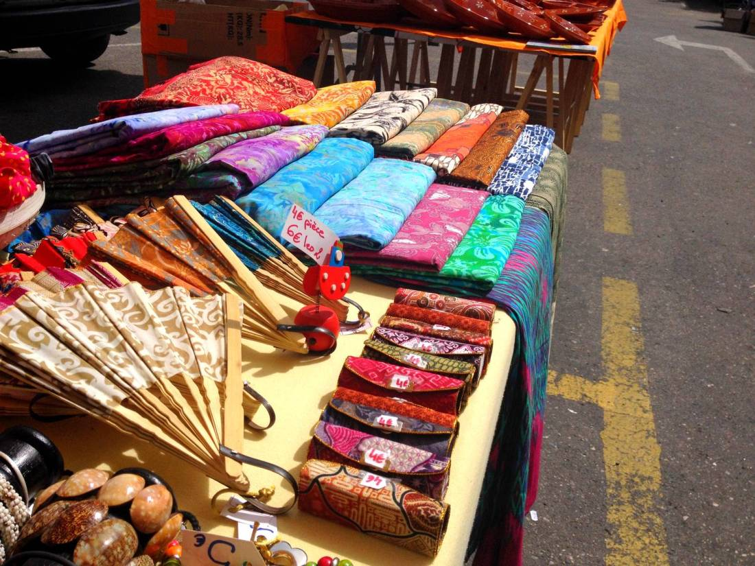 Colorful fabric at the market - Saint-Hippolyte-du-Fort, France