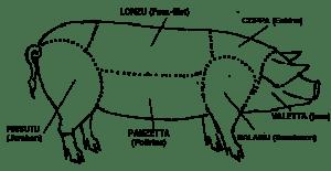 Schéma de cochon pour la charcuterie corse