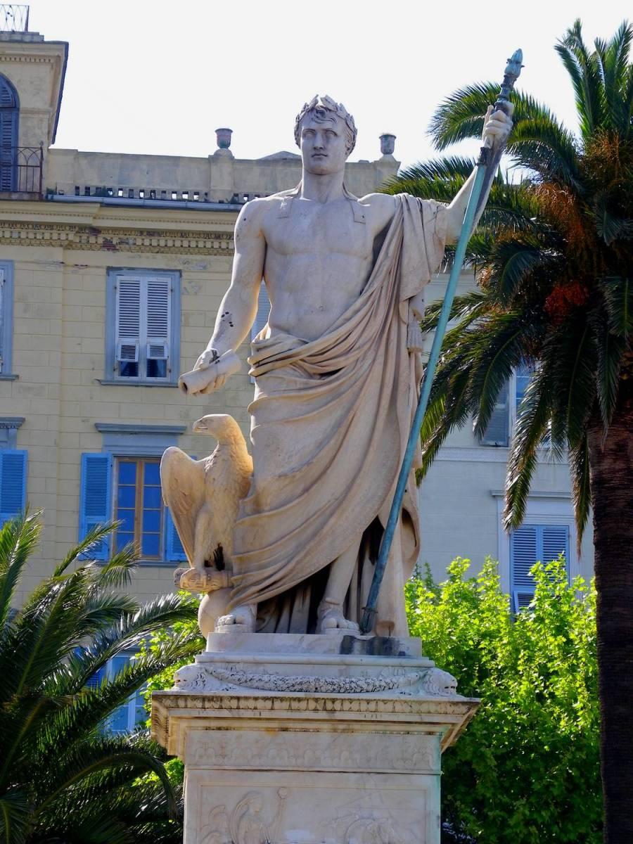 Napoleon's statue as a Greek God - Bastia, Corsica
