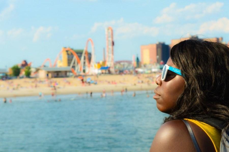 Nath sunbathing in Coney Island - New York City, United States