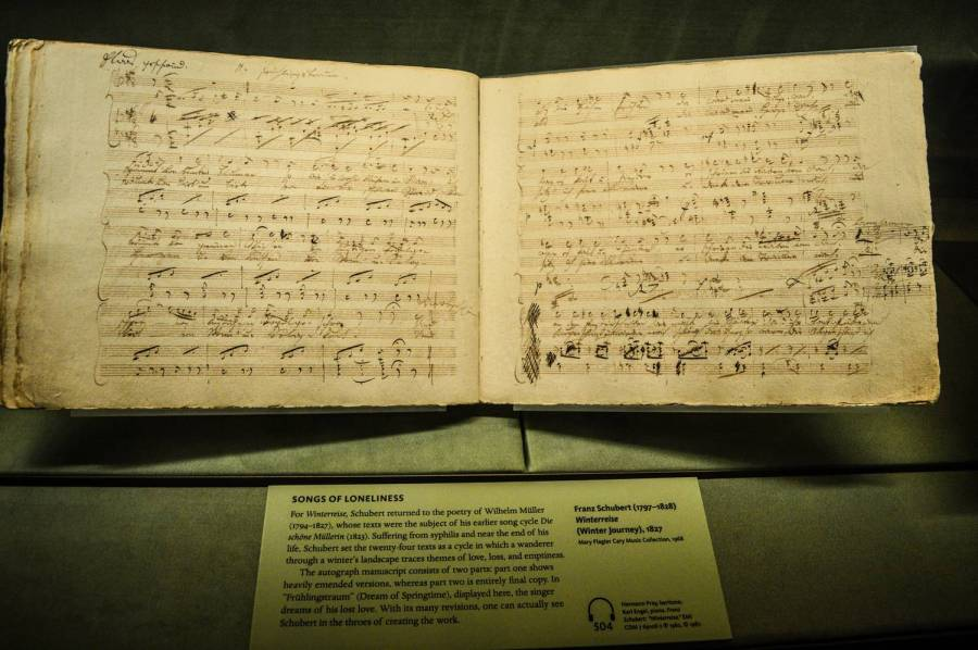 Schubert hand-written musical score at the Morgan Library and Museum - New York City, United States