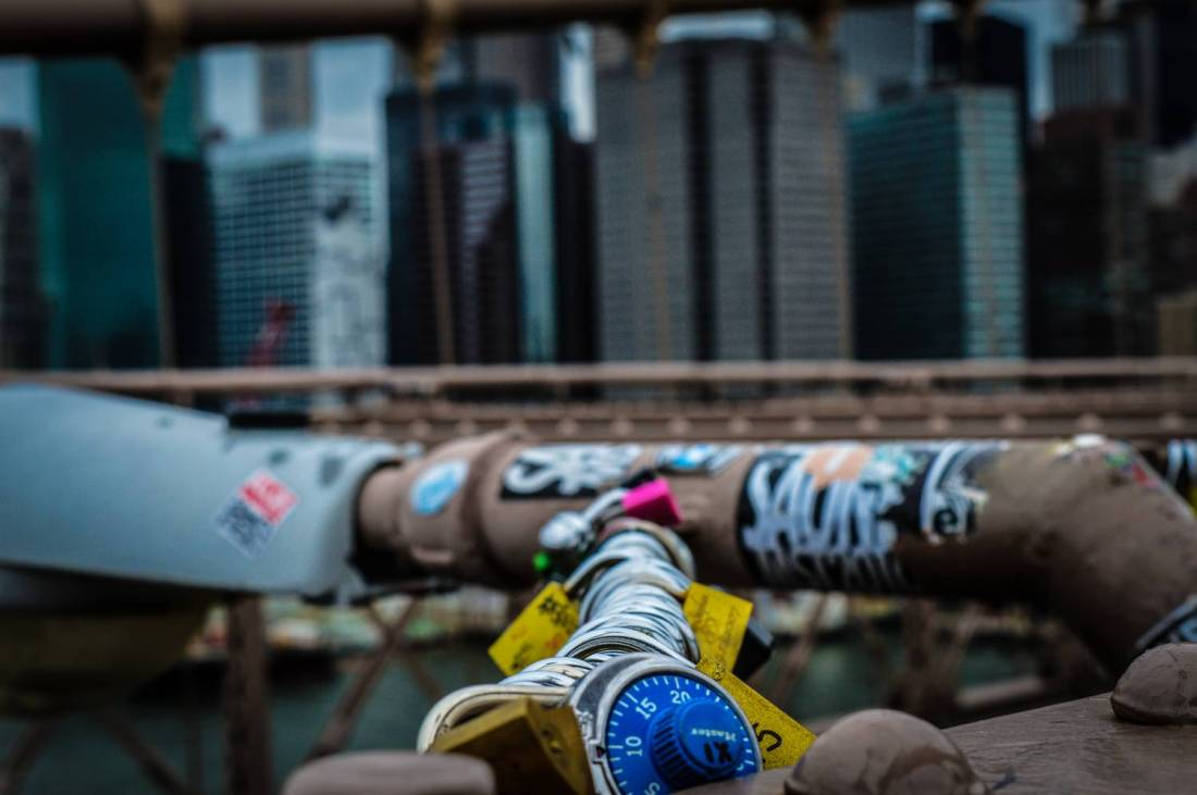 Lover's padlocks on the Brooklyn Bridge - New York, USA