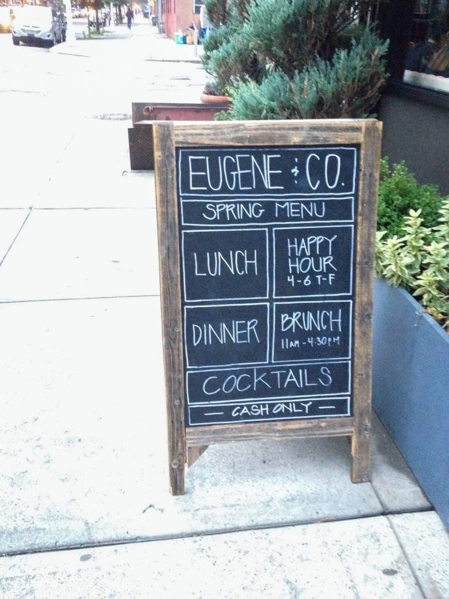 Eugene & Co's chalkboard in Bedford-Stuyvesant, Brooklyn - New York, USA