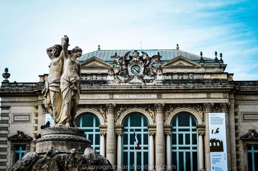 Statue des 3 Grâces et l'Opéra Comédie - Montpellier, France