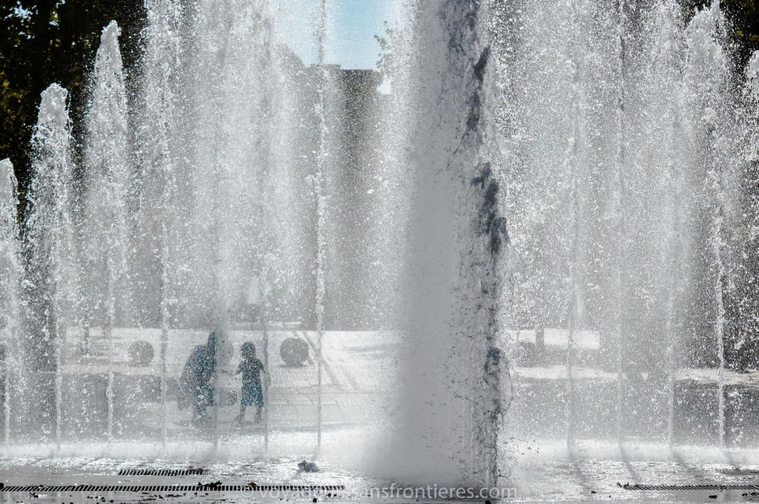 Nice fountain in the Antigone district - Montpellier, France