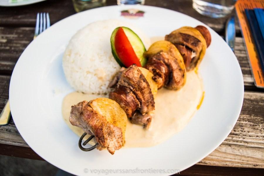 Pork and sausage kebabs at Kopyto - Prague, Czech Republic
